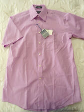 Mens Size 14 1/2 Stafford Short Sleeve Button Up Broadcloth Shirt Violet NEW