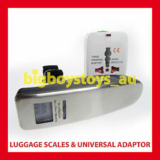 UNIVERSAL TRAVEL POWER ADAPTOR ADAPTER + DIGITAL LUGGAGE SCALES BAGGAGE 50KG