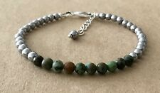 Silver Plated, Friendship Bracelet African Turquoise+Silver Hematite Beaded,