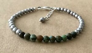 African Turquoise+Silver HEMATITE Beaded, Silver Plated, Friendship Bracelet