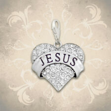 CHRISTIAN LATCH CHARM, Jesus on Heart, USA MADE, Sterling Silver Plated, Clip-on