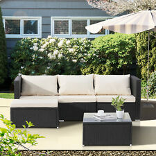 Patio Sofa 5 Pcs Outdoor Furniture Set Pe Rattan Wicker Cushion Outdoor Garden