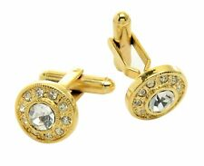 Gold-tone Cuff Links Round with Stones Mens CuffLinks