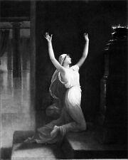 ROME: LA VESTALE AMATA au pied de l'AUTEL - Gravure 19e s (peinture de Le Roux)