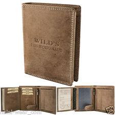 Herren Leder Geldbörse W01 Dunkelbraun Geldbeutel Portemonnaie Brieftasche
