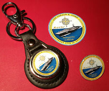 USS GERALD R FORD `CVN 78 CARRIER`:  LEATHER KEY RING, BADGE &  FREE   STICKER