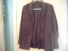Suede Leather Blazer, Women's, Large, Brown, 3 button, Dialogue, used