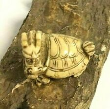Japanese Hand Carved Netsuke Dragon Turtle Collectible Statue