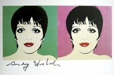 """Andy Warhol, """"LIZA MINELLI"""" Hand signed in Black pen 1986 with COA"""