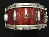 """Slingerland Vintage 50's 14"""" Inch Red Sparkle 5.5x14 Snare Drum Chicago"""
