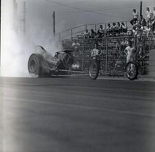 Front Engine Dragster Smoking Burnout - Vintage 120mm Race Negative