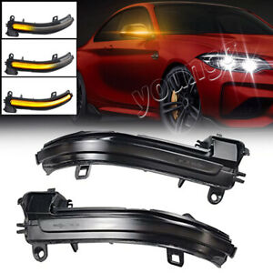 Smoked Lens LED Side Mirror Sequential Turn Signal Light For BMW 1-4 Series i3