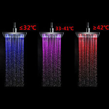 LED Light Square Rain Shower Head Stainless Steel 7Color Changing Hottest TS