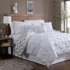 Reversible 7-piece Comforter Set King Size Bed Bedding Pinch Pleat White Pillows