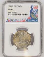 India 1954(B) Rupee NGC Graded MS 64