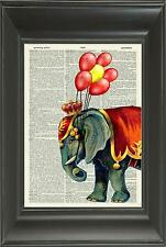 ORIGINAL-Circus Elephant Vintage Dictionary Art Print - Nursery Wall Art N.513Df