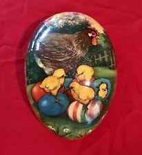 Vintage Classic Easter German Paper Mache Egg Cardboard Chicks Mother Hen