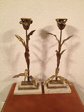 Vintage Pair Tall Gilt Metal & Marble Candle Stick Holders w/ Floral Decoration