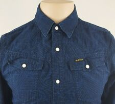 G STAR RAW Mens Pearl Snap Western Style Long Sleeve Blue/black Shirt SIze Small