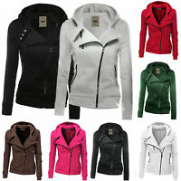 Womens Hooded Zipper Long Sleeve Jacket Ladies Casual Slim Fit Coat Outwear Tops