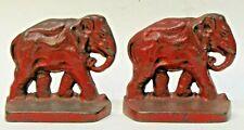 1920's ELEPHANTS matched pair cast iron bookends ORIGINAL *