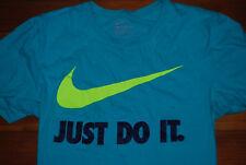 "Men's Nike ""Just Do It"" Bright Turquoise / Neon Swoosh Graphic T-shirt (Medium)"