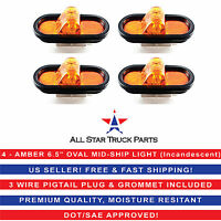 "4 - AMBER 6"" OVAL MID-SHIP TURN TRUCK TRAILER LIGHT WITH GROMMET &  PIGTAIL KIT"