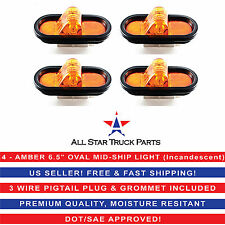 """4 - AMBER 6"""" OVAL MID-SHIP TURN TRUCK TRAILER LIGHT WITH GROMMET &  PIGTAIL KIT"""