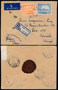 ADEN 1949 POSTMASTER GENERAL SIGNED + SEAL to LAZARUS KENYA REGISTERED AIRMAIL