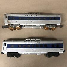 2 Vintage Lionel 2412 Santa Fe vista dome toy train cars (for parts or repair)