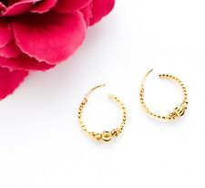Gold Plated Dangle Hoop Earrings Indian Bollywood Traditional Jewelry Design