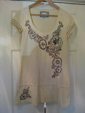 LOVELY LADIES SIZE 12 CREAM NEXT COTTON TOP - HARDLY WORN