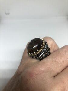 Vintage Crackled Carnelian Mens Ring Golden Stainless Steel Size 12