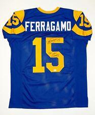 Vince Ferragamo Autographed Blue Pro Style Jersey W/ NFC Champs and JSA W Auth