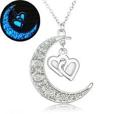 Steampunk leuchtende Anhänger Mond mit zwei Herzen und Halskette Silberüberzogen