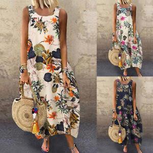 ZANZEA Women Sleeveless Summer Tank Dress Floral Print Shirt Dress Midi Dress