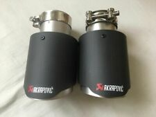 "1 x AKRAPOVIC STYLE 3.5"" MATTE CARBON EXHAUST TIP SILVER TAILPIPE UK SELLER"