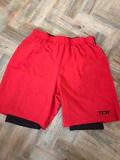 TCA Mens Red Endurance Running Shorts Back Pocket 2 In 1 Sports Althletic XL