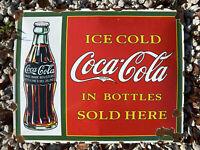 VINTAGE ICE COLD COCA COLA BOTTLE PORCELAIN METAL SIGN GAS OIL SODA POP DRINK