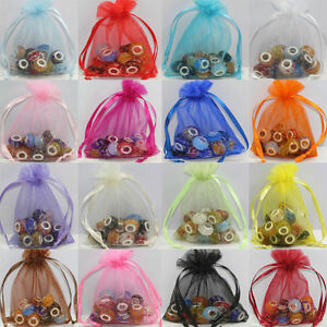 30/100pcs Beautiful Organza Jewelry Packing Pouch Wedding Favor Gift Bags