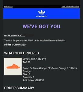 Adidas Yeezy Slide Enflame Orange Men's 5/ Women's 6 *Confirmed*
