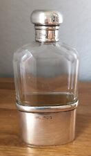 More details for antique silver & glass hip flask. london, finnigan's ltd. 1909. 45.4g