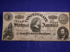 1864 US $100 Confederate States of America CLEAN VF+ Note w/ Red Bank Stamp