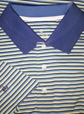 NEW Brooks Brothers Short Sleeve Golf Polo Shirt 2XL Navy Sky Blue Yellow Stripe