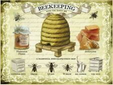 Beekeeping metal advertising sign 15x20cm honey bee wall plaque