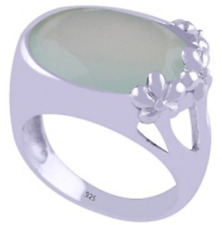 925 Sterling Silver Chalcedony Aqua Fancy Cut Oval Statement Ring Size 9