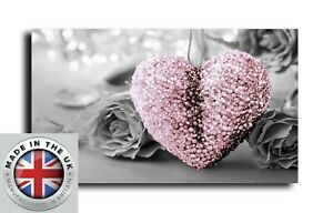 BLUSH PINK LOVE HEART GREY ROSE CANVAS  PICTURE 18 X 32 INCH READY TO HANG