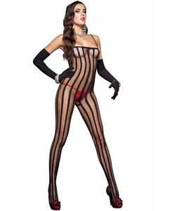 Striped Bodystocking - Music Legs 1567