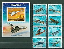 Rwanda 1978, Aviation History, Airplanes, set + S/S, Mi# 952-959,BL84, MNH 268