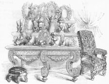 FURNITURE. Sideboard, with plate,  1845 old antique vintage print picture